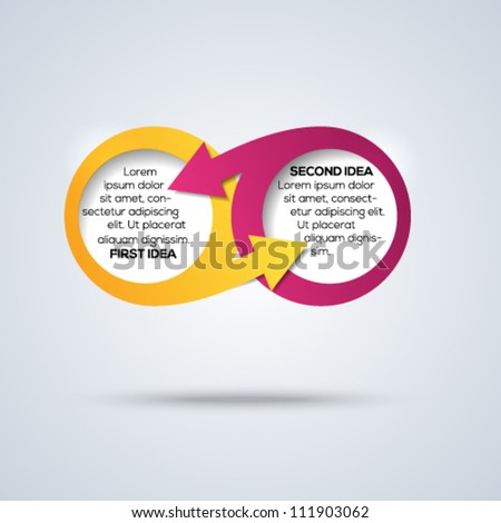 3d infinity concept with place for your text and arrows. Vector illustration. - stock vector