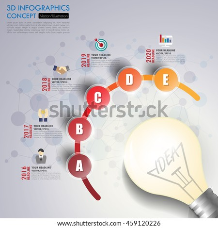 3d Infographic Template. Data Visualization. Can be used for workflow layout, number of options, steps, diagram, graph, presentation, timeline chart and web design. Vector illustration. - stock vector