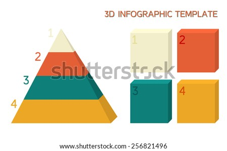 3D infographic template in solid colors - pyramid and boxes - stock vector