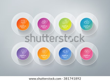 3D infographics buttons. Can be used for presentations to mark options, workflow, progress, success.