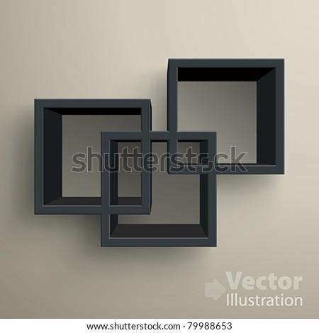 3d isolated Empty black bookshelf. Vector illustration - stock vector