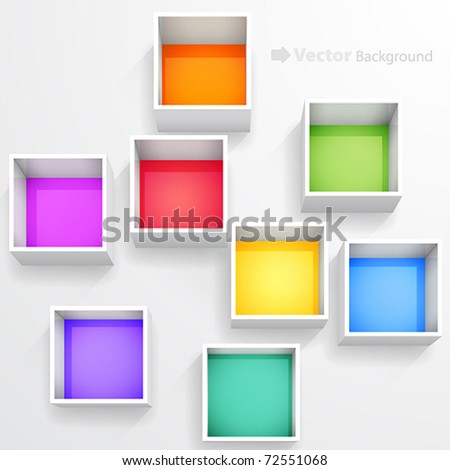3d isolated Empty colorful bookshelf. Vector illustration.