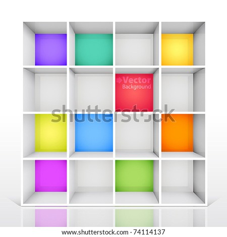 3d isolated Empty colorful bookshelf. Vector illustration - stock vector