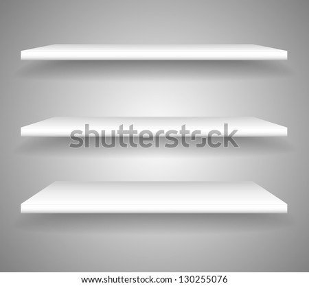 3d isolated Empty shelf for exhibit - stock vector