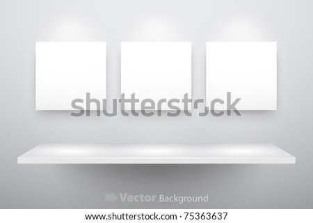 3d isolated Empty shelf for exhibit and three frames. Vector illustration. - stock vector
