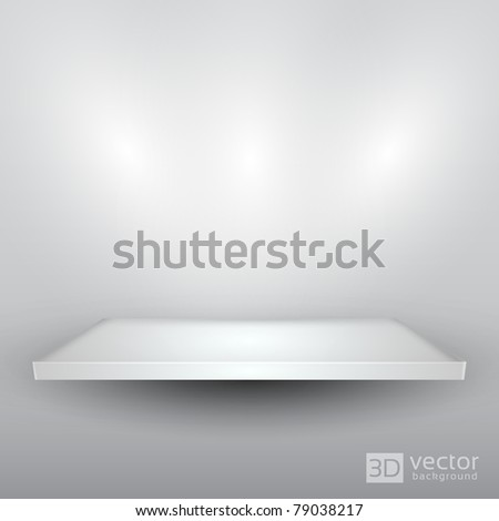 3D Isolated Empty Shelf for Exhibit - EPS10 Vector illustration - stock vector