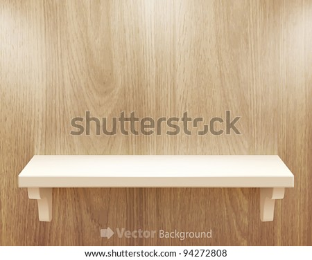 3d isolated Empty shelf for exhibit on wood background. Vector illustration. - stock vector