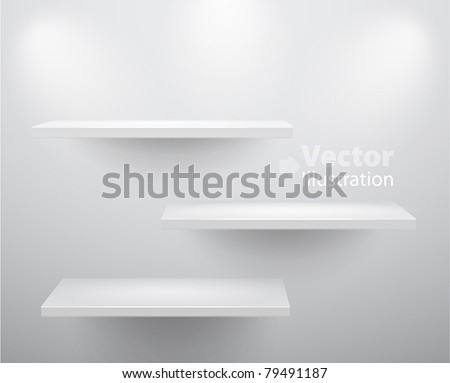 3d isolated Empty shelves for exhibit. Vector illustration. - stock vector