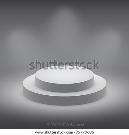 3d isolated Empty white podium on dark background. Vector illustration.