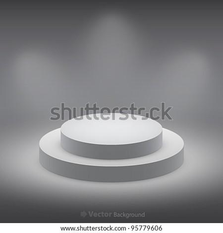 3d isolated Empty white podium on dark background. Vector illustration. - stock vector