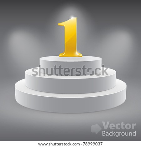 3d isolated Empty white podium on gray background with first place. Vector illustration. - stock vector
