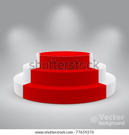 3d isolated Empty white podium with red carpet. Vector illustration. - stock vector