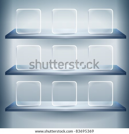 3d isolated shelf for exhibit with Empty glass buttons. - stock vector