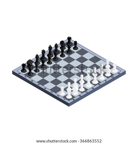 3D isometric chess board with black and white figures. Vector illustration.  - stock vector