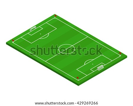 3D isometric football field with official correct proportions and layouts. Sport theme vector illustration, soccer sports field, stadium. Isolated editable design element for infographics, banner - stock vector