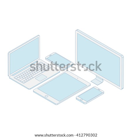 3D Isometric illustrated computer, notebook, tablet, smartphone