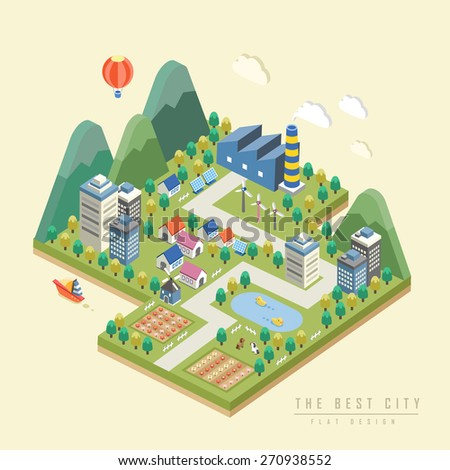 3d isometric infographic with lovely city surrounded by mountains - stock vector