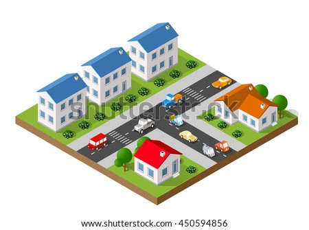 3D isometric landscape of a small town with houses and streets with trees - stock vector