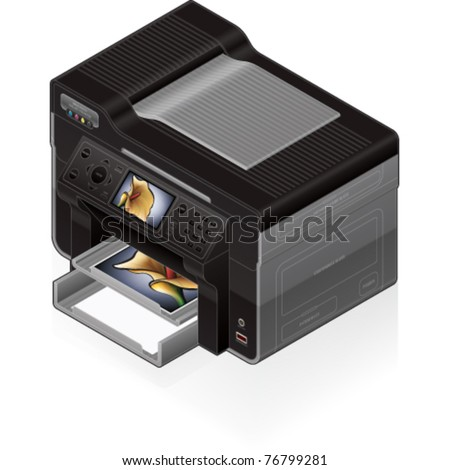 3D Isometric Office Color Photo InkJet Printer - stock vector