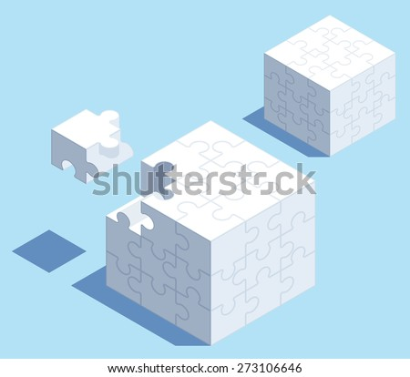 3D isometric puzzle cube with space for your content. - stock vector
