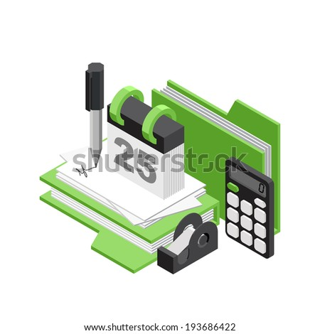3d Isometric vector office objects