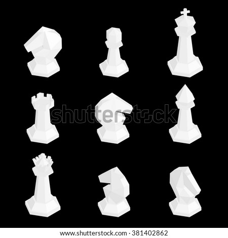 3D isometric white chess figures isolated on black background . Vector illustration.  - stock vector