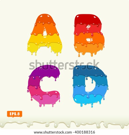 3d Joyful a set of capital letters painted with paint, with smudges and drops. A, B, C, D. eps8 - stock vector