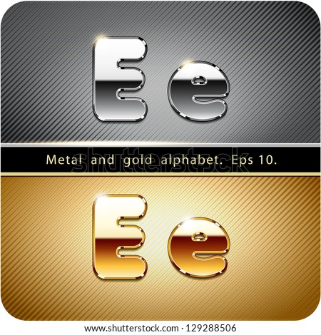 "3d Joyful set of chrome metal and gold vector alphabet. The letter ""E"".Eps 10. The rest of uppercase and lowercase letters, symbols and numbers of the alphabet in my portfolio. - stock vector"