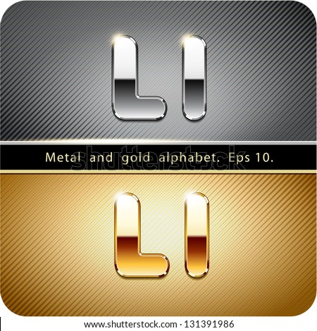 "3d Joyful set of chrome metal and gold vector alphabet. The letter ""L"".Eps 10. The rest of uppercase and lowercase letters, symbols and numbers of the alphabet in my portfolio. - stock vector"