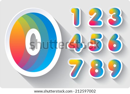 3d Joyful set of cut paper vector numbers from 1 to 0.Colors of the rainbow. spectrum. Multicolored gradient.  Eps 10. - stock vector