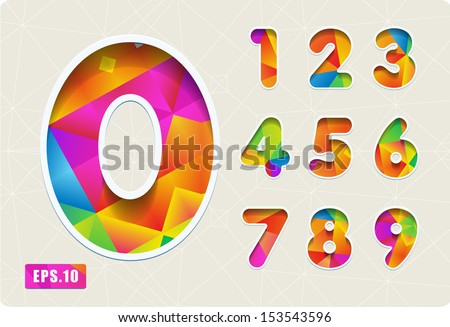3d Joyful set of cut paper vector numbers from 1 to 0. Multicolored gradient. Eps 10. The rest of uppercase and lowercase letters, symbols and numbers of the alphabet in my portfolio. - stock vector