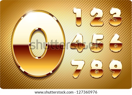 3d Joyful set of gold metal vector numbers, from 1 to 0. Eps 10. The rest of uppercase and lowercase letters, and symbols of the alphabet in my portfolio. - stock vector