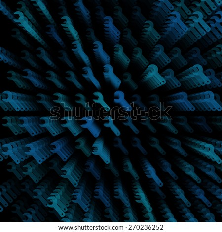 3d layered dark vector background with wrench icon template. Abstract transparent background with perspective for poster, banner, web. - stock vector