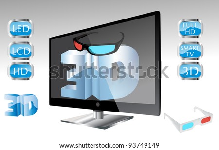 3D LED Tv glass and icon set eps10 - stock vector