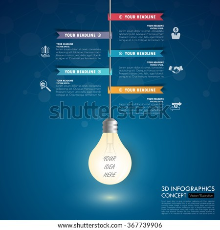 3d light bulb business Infographic Template. Data Visualization. Can be used for workflow layout, number of options, steps, diagram, graph, presentation, chart and web design. Vector illustration. - stock vector