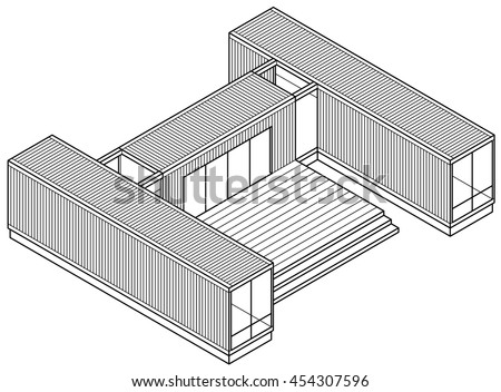 3D Line-art drawing of a house/building made out of shipping containers.