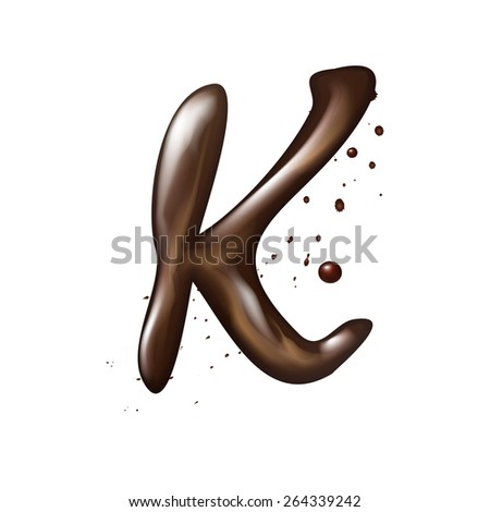3d liquid chocolate letter K isolated on white background - stock vector