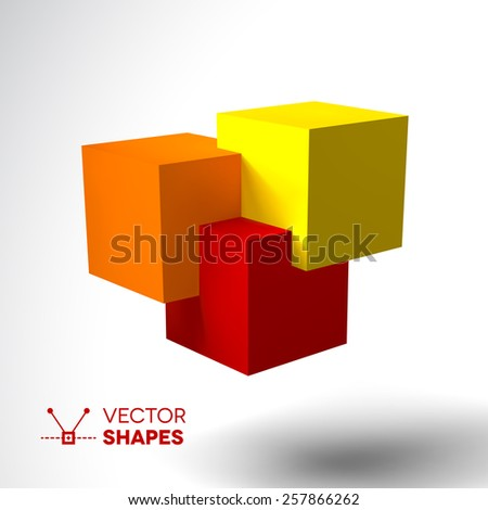 3D logo with bright colored cubes. Red, orange and yellow - stock vector