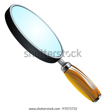 3d magnifying glass against white background, abstract vector art illustration - stock vector