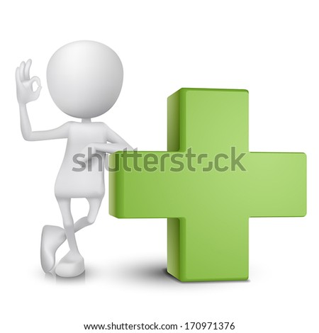 3d man showing okay hand sign with a green cross - stock vector