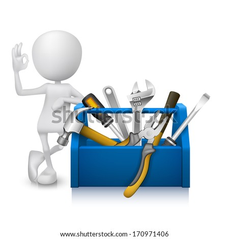 3d man showing okay hand sign with a toolbox with tools - stock vector