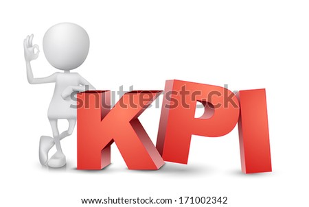 "3d man showing okay hand sign with a word ""KPI""( Key Performance Indicator ) - stock vector"