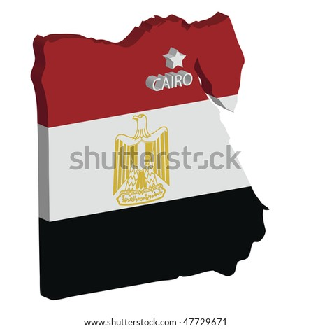 3d map of egypt with flag and capital marked - stock vector