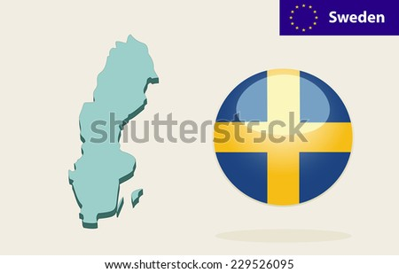 D Map Sweden Vector Sweden Flag Stock Vector Shutterstock - Sweden map 3d
