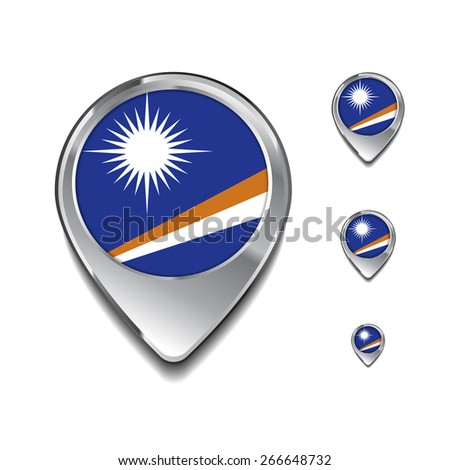 3d Map Pointer with flag glossy button style on gray background | Marshall Islands flag map pointer - stock vector