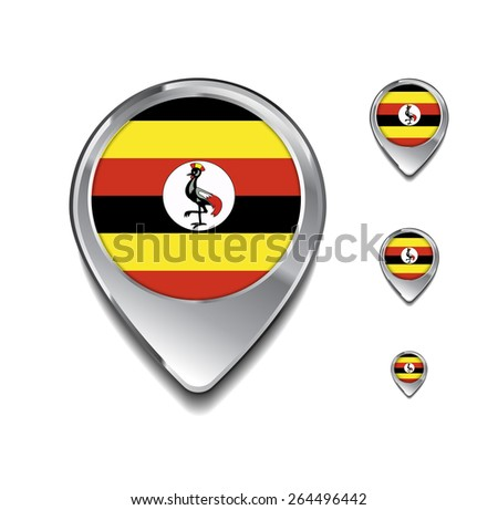 3d Map Pointer with flag glossy button style on gray background | Uganda flag map pointer - stock vector