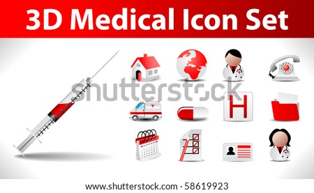 3d medical icon set - stock vector