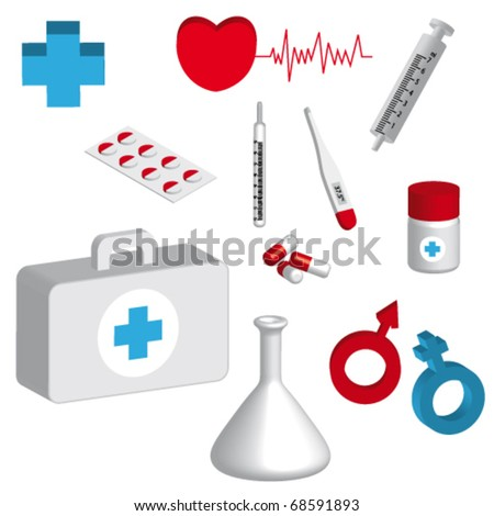 3d medical icons - stock vector