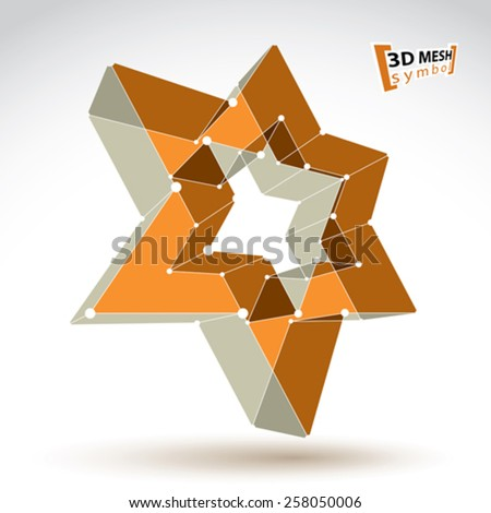 3d mesh gold star sign isolated on white background, colorful elegant lattice superstar icon, dimensional tech pentagonal object, bright clear eps 8 vector illustration - stock vector