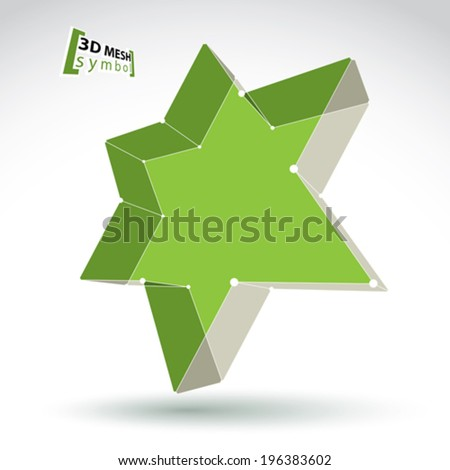 3d mesh green star sign isolated on white background, colorful elegant lattice superstar icon, dimensional tech pentagonal object with white connected lines, bright clear eps 8 vector illustration. - stock vector